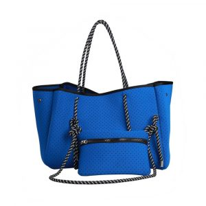 neoprene blue tote bag with pouch