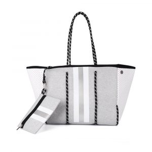 grey striped neoprene tote with purse