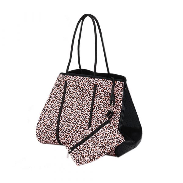 leopard-neoprene large tote with purse