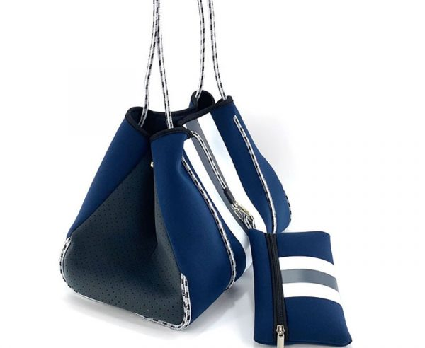side of neoprene blue tote with stripe