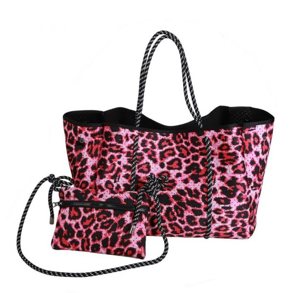 red cheetah neoprene bag with pouch